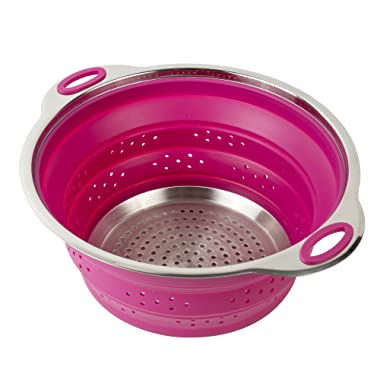 Collapsible Silicone Colander / Strainer / Steamer with Stainless Steel Base in Raspberry Fuchsia Color - 3 Quart - by Finn Market