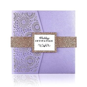 Ponatia 20 Pcs Laser Cut 3 Folds Square Wedding Invitations Cards With Belt For Wedding Birthday Engagement Greeting Invitations Cards Use Free