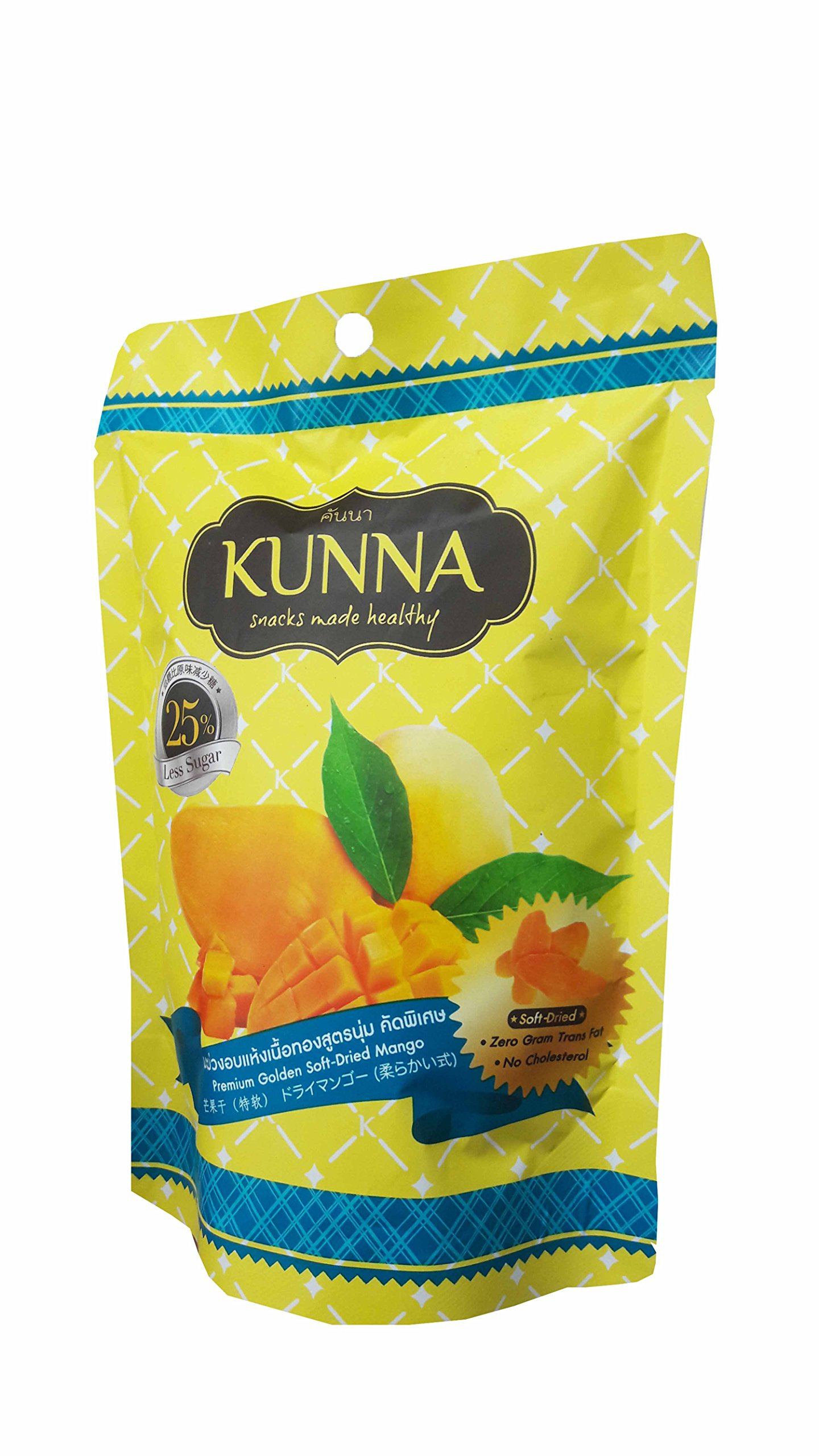 3 Packs of Premium Golden Soft-Dried Mango, snacks made healthy by kunna. Zero gram trans fat, No cholesterol & delicious, premium fruit snack from Thailand) (75 g/pack). by Kunna