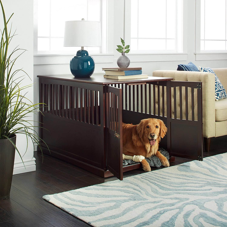 Amazon Com Wooden Furniture Xl Pet Crate Espresso Solid Wood End Table Kennel Consule Decor Pet Supplies