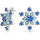 Bling Jewelry Winter Snowflake Blue CZ Stud earrings Rhodium Plated 41mm