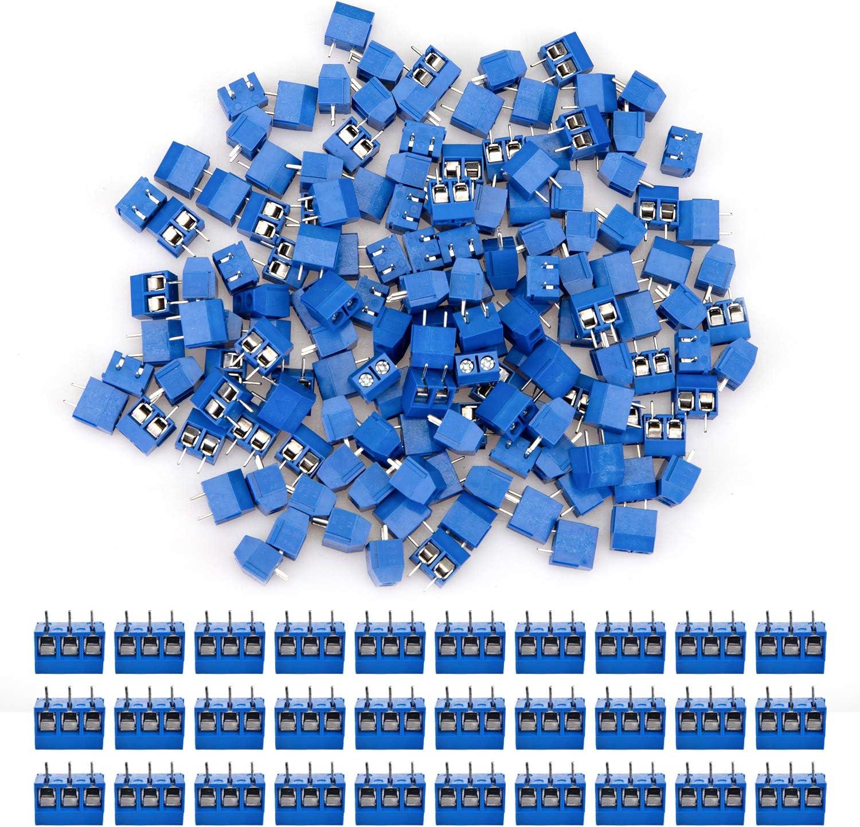 YOPAY 180 Pieces 2 Pin & 3 Pin 5 mm Pinch PCB Mount Screw Terminal Block Connector for Arduino (150 x 2 Pin, 30 x 3 Pin, Blue)