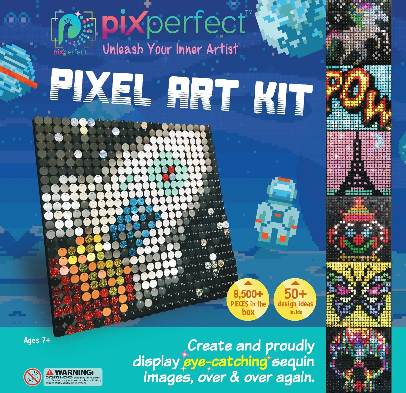 Amazon Com Pix Perfect Pixel Art Kit For Fans Of Pixel Art Perler Beads Crafts Or Sequins 20 Colors 50 Design Ideas Hours Of Creative Fun Toys Games