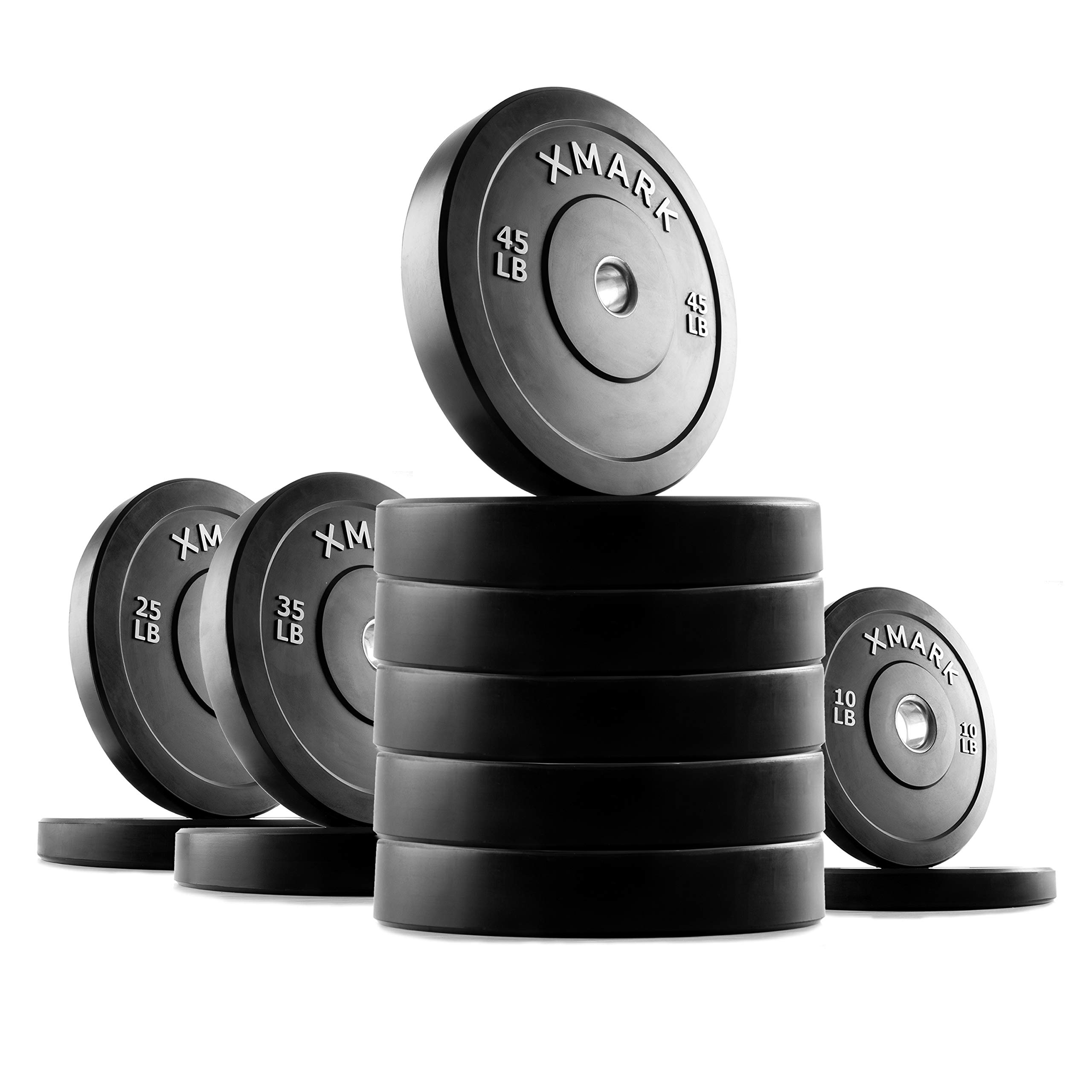 XMark 410 lb Set Premium Bumper Plates, Three-Year Warranty, Low Bounce Olympic Bumper Weight Plates, XM-3385 by XMark Fitness