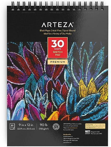 Arteza Blocs de dibujo de papel negro de 22,9 cm x 30,5 cm (9x12