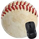 MSD Mousepad Round Mouse Pad/Mat 26508030 Close up of a baseball threads with room for copy