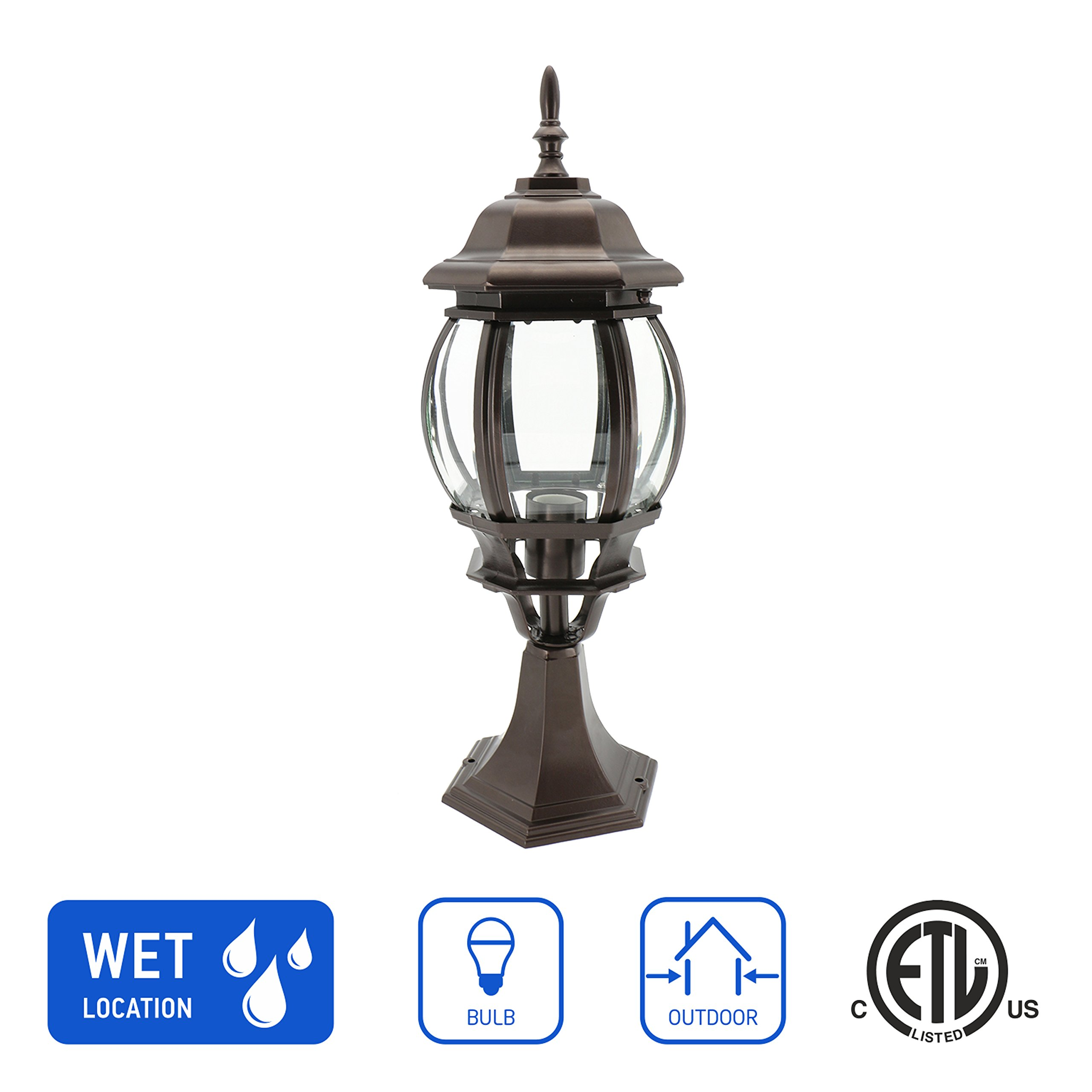 in Home 1-Light Outdoor Post Lantern L08 Series Traditional Design Bronze Finish Clear Glass Shade, ETL Listed