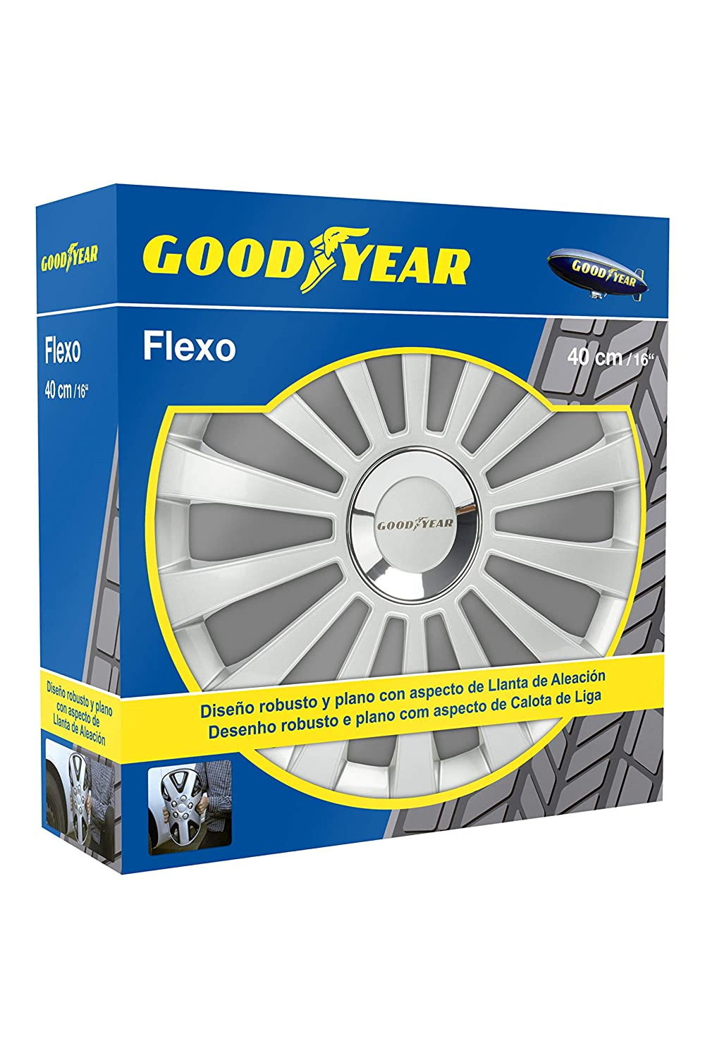 Good Year GOD9031 - Set de 4 Tapacubos Flexo 30, Plata, 16 Pulgadas: Amazon.es: Coche y moto