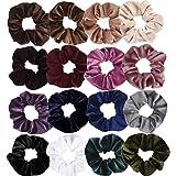 Cocider 16 Pack Velvet Scrunchies Hair Elastics Scrunchy Bobbles Soft Hair Bands Hair Ties Ponytail Holder For Girls and Women, 16 Colors