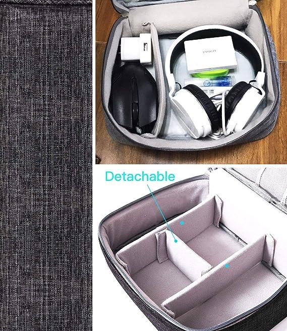 Blu DIYARTS Borsa da Viaggio Organizer per Cavi Accessori per Elettronica Custodia per Gadget USB Digitale con Cerniera per Cavi Dati Caricabatterie Spine Schede di Memoria Power Bank