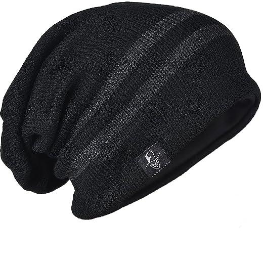 c1325f413e9bf3 FORBUSITE Men Knit Slouchy Beanie Hat for Winter Summer, Oversized B318  Black
