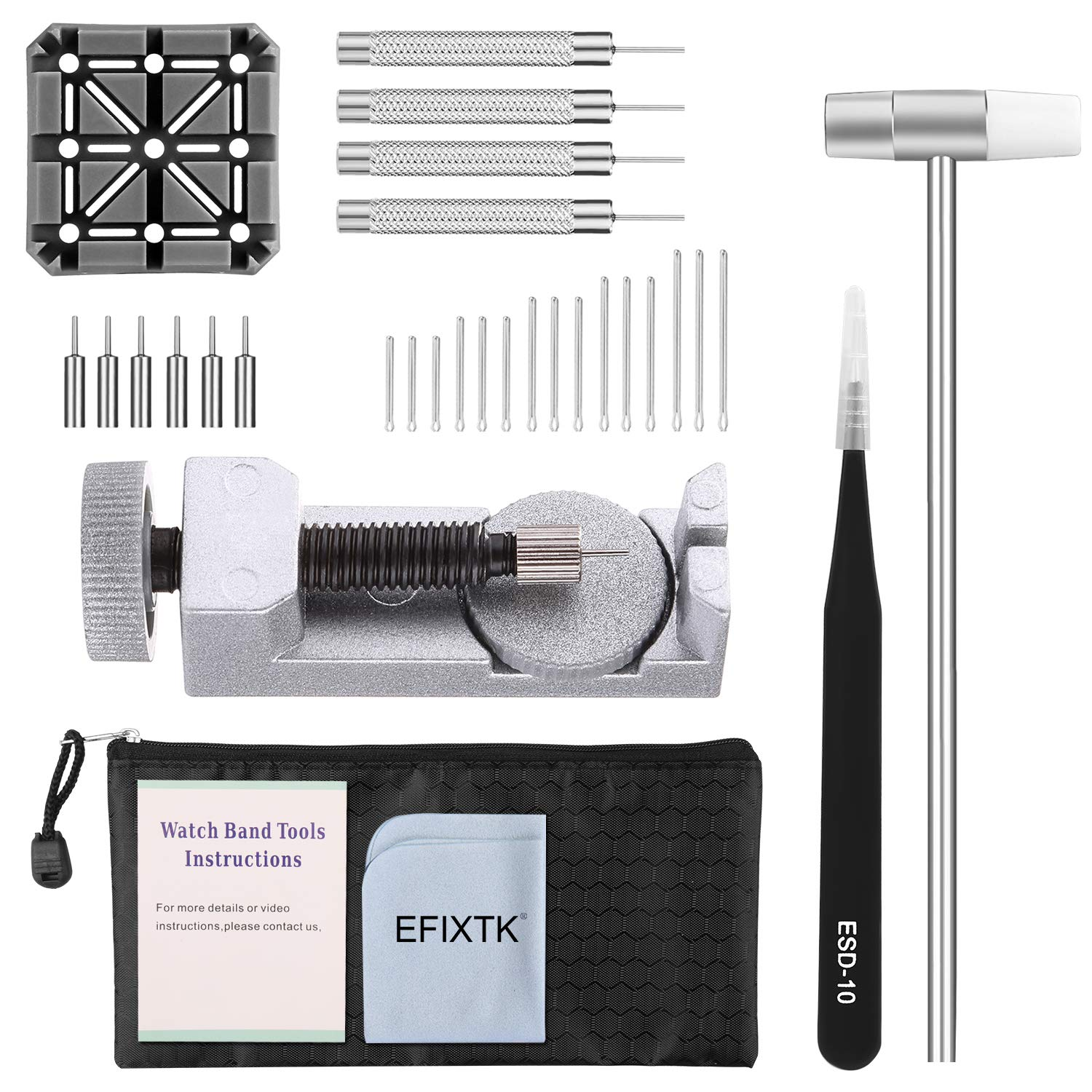 Watch Band Strap Link Pins Remover Repair Tool,24 in 1 Kit with 3 Extra Tips Replacement,20PCS Cotter Pin,1PCS Holder,1PCS Head Hammer,1PCS Tweezers,1PCS Glasses Cloth