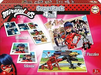 Educa - Superpack Miraculous Ladybug: Domino, Identic y 2 puzzles, juego de mesa para niños, a partir de 3 años (17259): Amazon.es: Juguetes y juegos