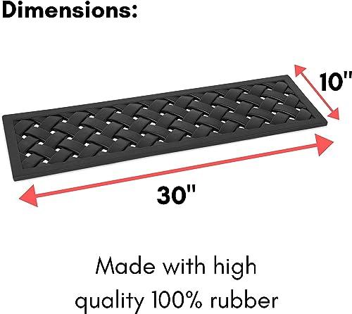 BIRDROCK HOME 9 x 30 Rubber Stair Mat with Basket Weave Design – 4 Pack – Tread Mat – Keeps Your Floors Clean – Outdoor Doormat – Decorative Design