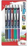Pentel EnerGel RTX Retractable Liquid Gel Pen, 0.5mm, Needle Tip, Assorted Ink, Pack of 5 (BLN75BP5M)