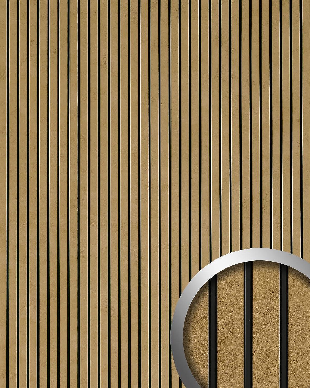 Revestimiento autoadhesivo aspecto metal WallFace 18582 PIANO Golden Age vintage rayas longitudinales doradas y junturas negras   2,60 m2: Amazon.es: ...