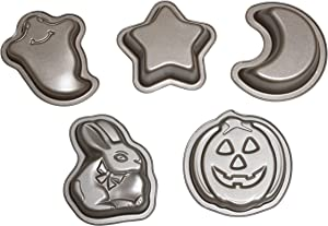 MiHerom Mini Cake Pans,Nonstick Novelty Cake Mold Set with Moon-Star-Bunny-Pumpkin-Ghost Shape Baking Pans,5 Pieces