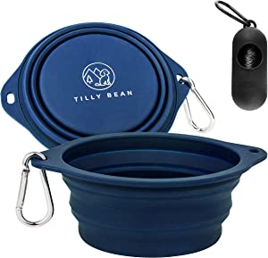 Tilly Bean 2 Pack Collapsible Travel Dog Bowls. Eco-Friendly Food Grade Silicone Pet Bowls for Hiking, Camping. Includes Carabiners and a Waste Bag Holder