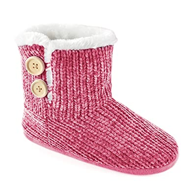 391b8b03ea2 Women s Ladies Footwear Chenille Knitted Bootie Boot Slippers with Button  Detail