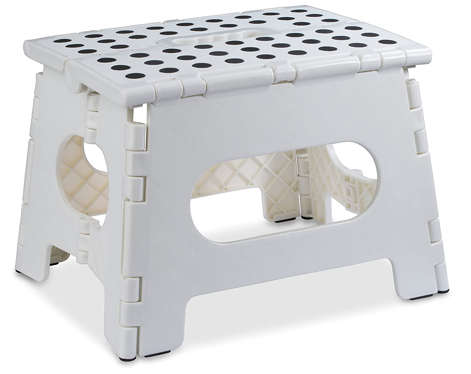 Folding Step Stool - 11 Wide - The Lightweight Step Stool is Sturdy Enough to Support Adults and Safe Enough for Kids. Opens Easy with One Flip. Great for Kitchen, Bathroom, Bedroom, Kids or Adults. Handy Laundry 5196