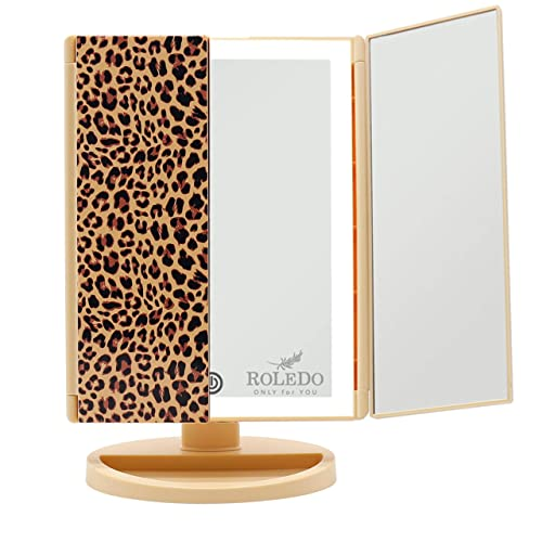 RoleDo Makeup Vanity Mirror with Lights – 36 Led Lighted Mirror Touch Screen Dimmable, 1X 2X 3X Magnification, Two Power Supply, Portable Trifold for Desk Cosmetic Face Light Up Make up Mirrors Leopard