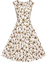 MUXXN Women's Vintage Print Cap Sleeve Formal Cocktail Dress