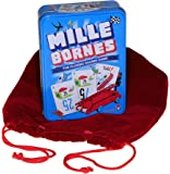 Mille Bornes Card Game in Colorful Tin, RED Velvet Drawstring Pouch, Bundled Items, Ages 13 to Adult