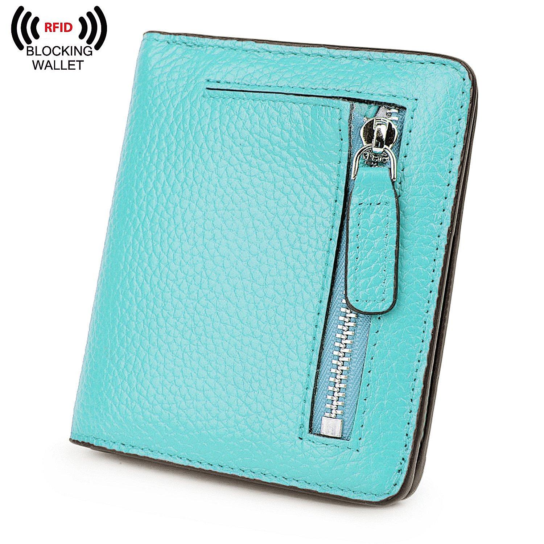 BIG SALE-AINIMOER Women's RFID Blocking Leather Small Compact Bifold Pocket Wallet Ladies Mini Purse with id Window (Sea Blue) by AINIMOER