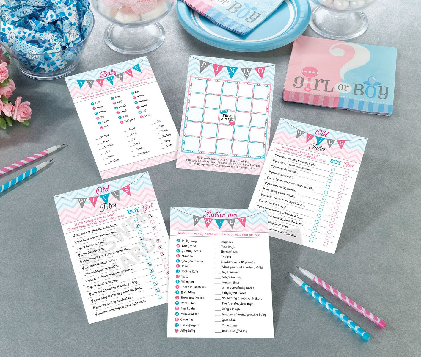 Lillian Rose Baby Gender Reveal Shower Game Cards, Pink/Blue/White, 5'' x 7'' by Lillian Rose (Image #2)