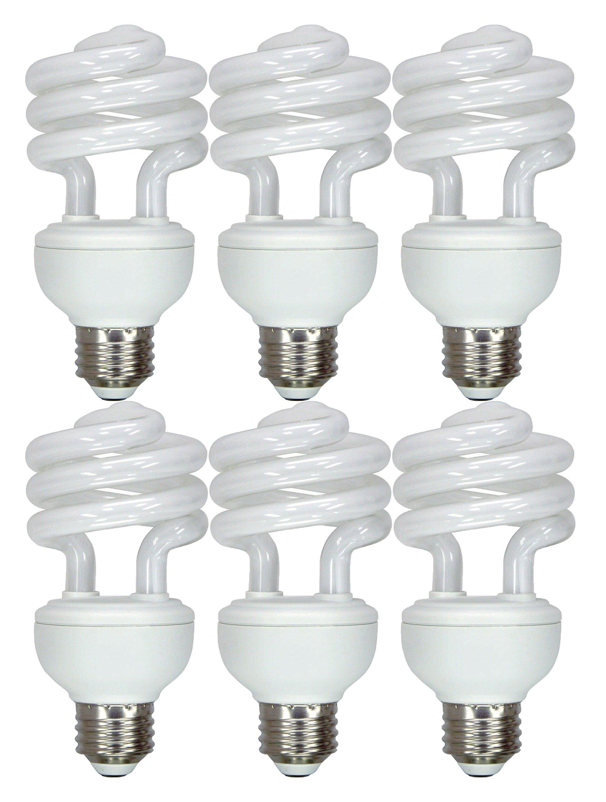 GE Energy Smart CFL Daylight 20-Watt (75-Watt Equivalent) 1300-Lumen T3 Medium Base Spiral Light Bulb - 6 Bulbs