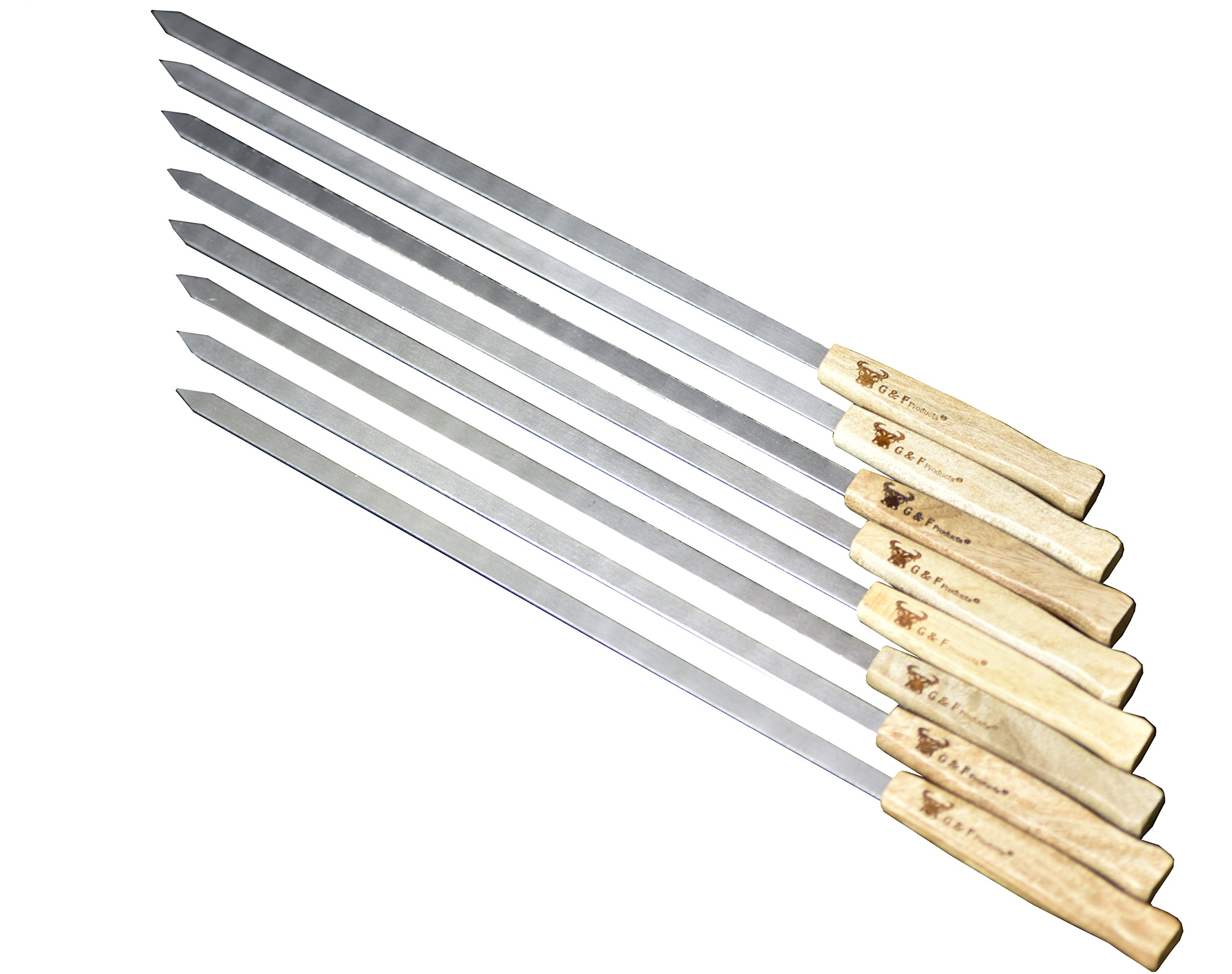 17-Inch Long, Large Stainless Steel Brazilian-Style BBQ Skewers with hard wood Handle, Kebab Kabob Skewers, 3/8 Inch Wide Blade, Set of 8 Skewer with heavy duty Travel Bag by G & F Products