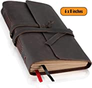 Leather Journal Lined Paper - Handmade Leather Bound Writing Notebook (6x8 in), Leather Journal for Men & Women, Poetry Jour