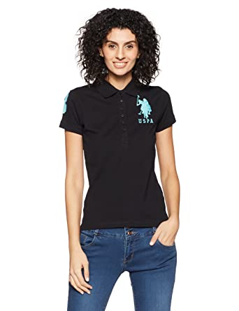 7aa9bcea6 US Polo Women's Band Collar T-Shirt: Amazon.in: Clothing & Accessories
