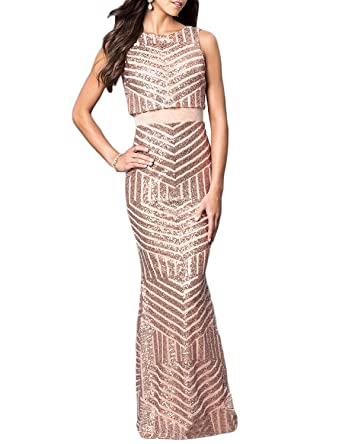 JoJoBridal Womens Long Sequined Evening Formal Dresses Prom Gowns M137 - Pink - Custom