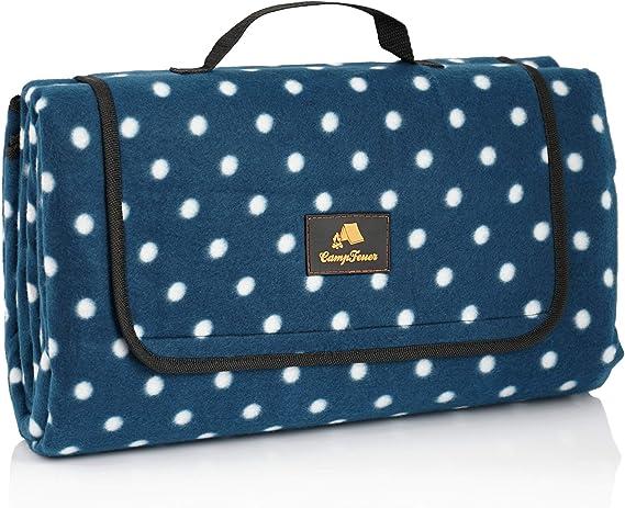CampFeuer Manta de Picnic Impermeable y Plegable | 200 x 200 cm | XXL | Color Azul | Diseño Lunares