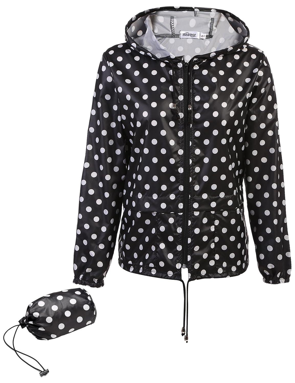 Damen Regenmantel mit Kapuze umweltfreundlich wasserdichtes Polyester Dots Punkte Regenjacke Regenponcho Jacke