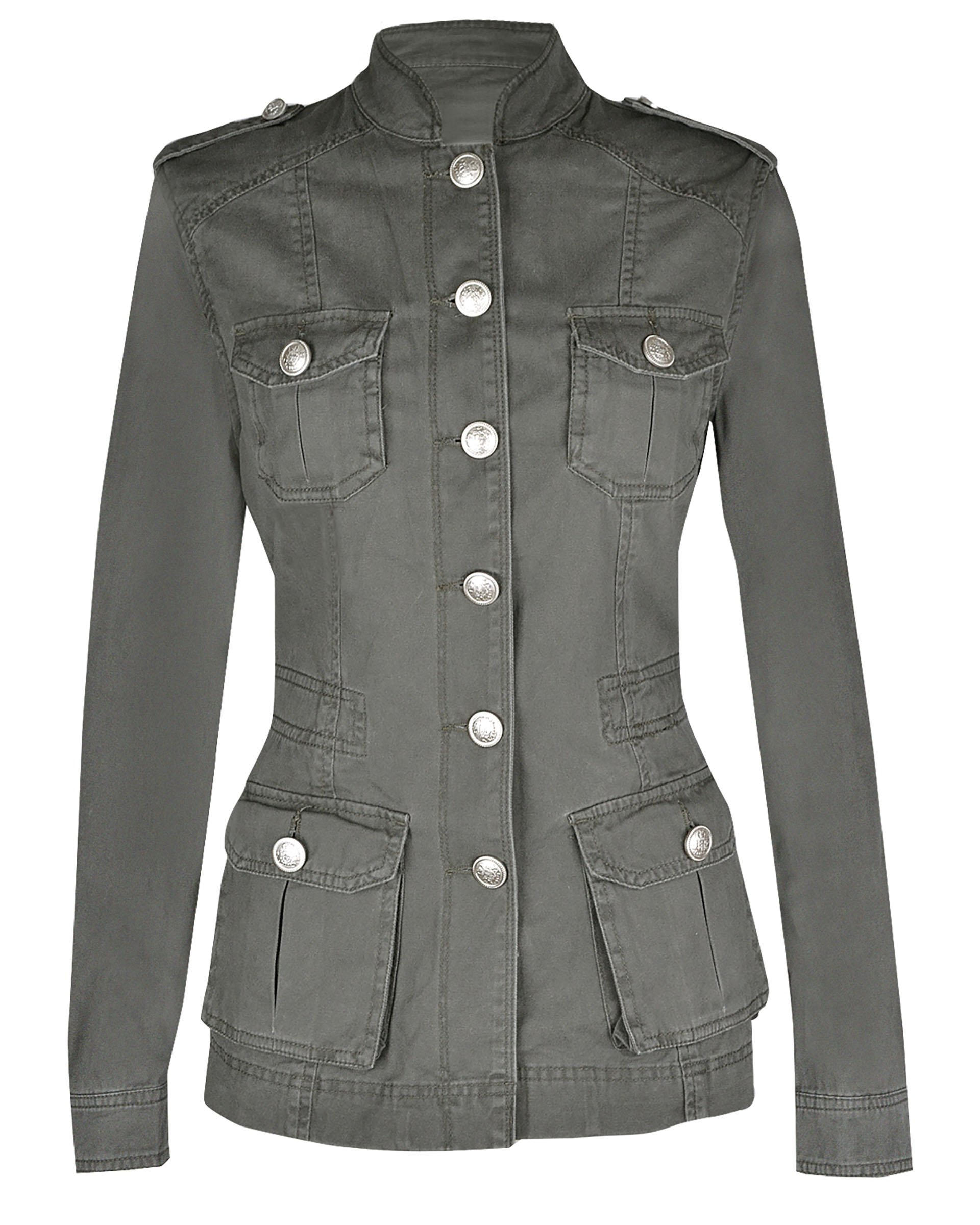 Ladies Military Style Summer Jacket (12(UK 16), Silver Button Khaki)