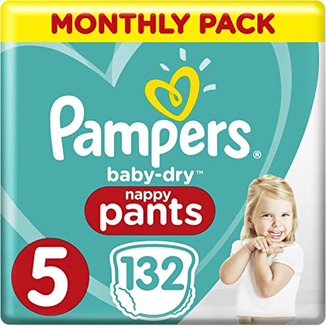 Size 4-38 Pack Pampers Baby-Dry Nappy Pants Disposable Cotton Nappies