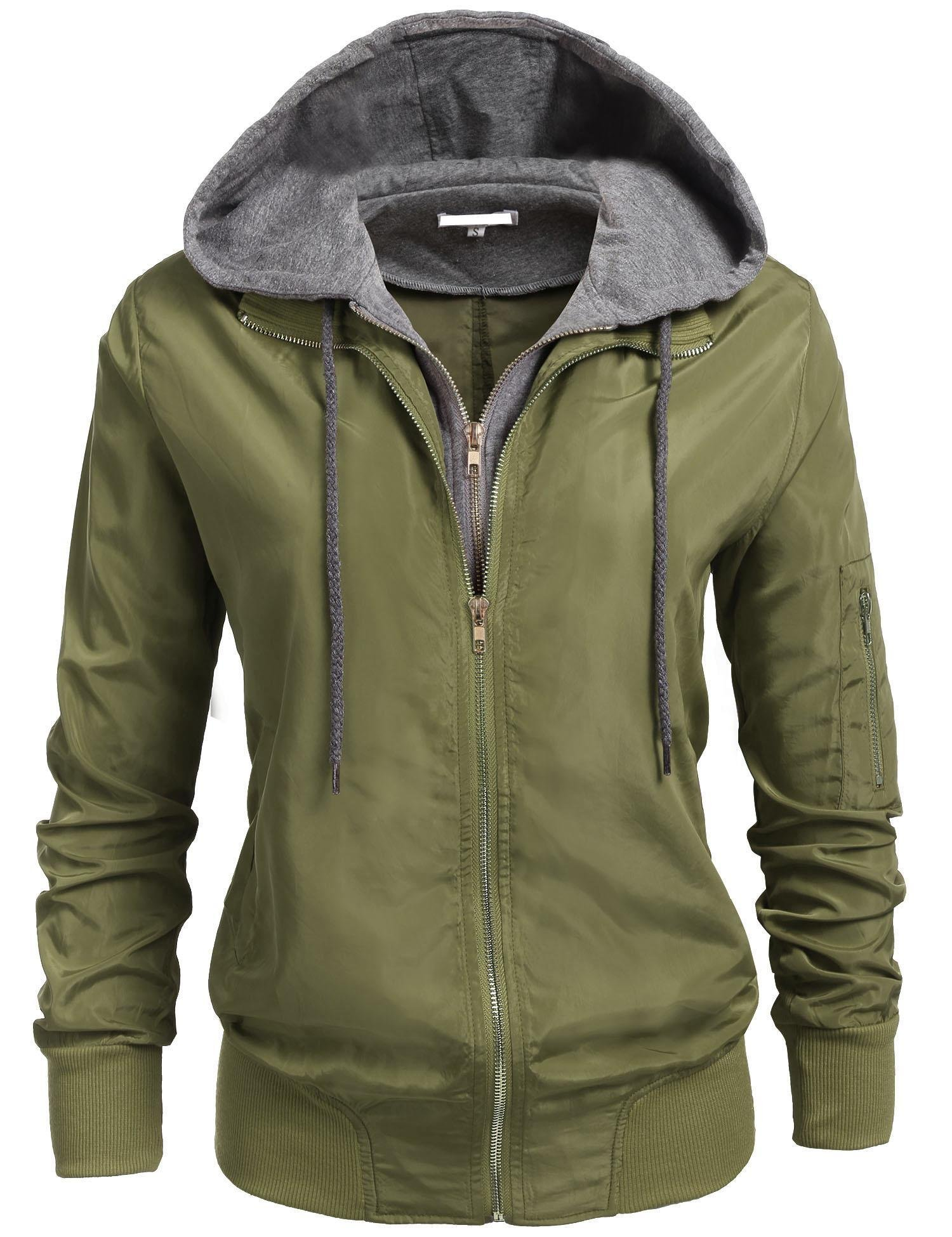 Zeagoo Women's Warm Relaxed Fit Padding Zipper Bomber Jackets Army Green M