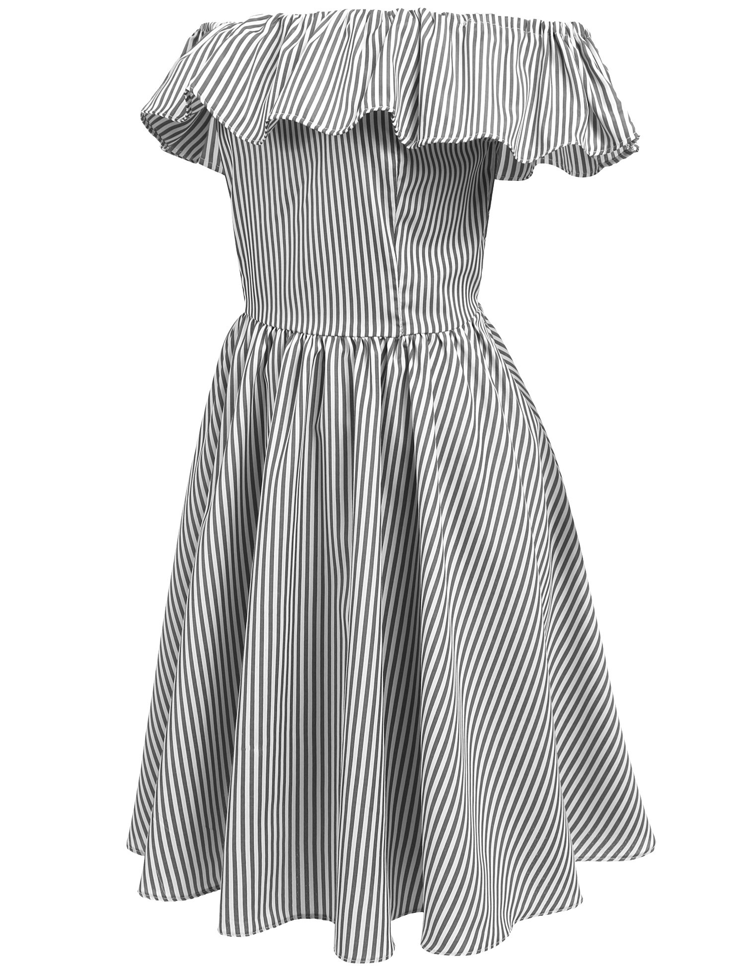 Meaneor Women\'s Casual Backless Off Shoulder Ruffle Striped Pleated Dress