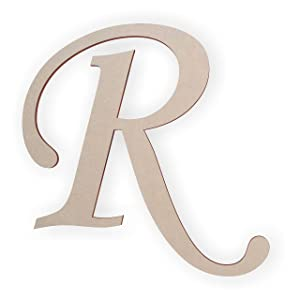 Wooden Monogram Letter R Unfinished and Ready to Paint