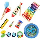 BIBNice Kids Musical Instruments Percussion Toy Rhythm Band Value Set (15 PCS)