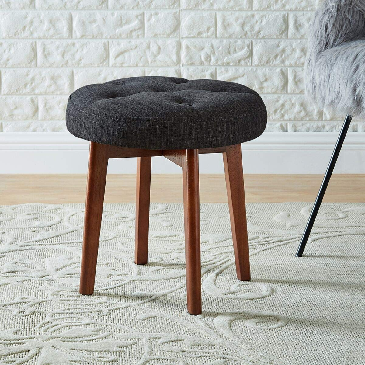 24KF Linen Tufted Round Ottoman with Solid Wood Leg, Upholstered Padded Stool – Dark Gray
