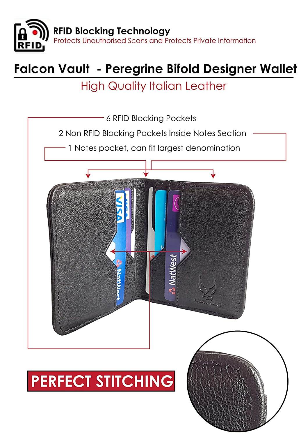 2df559024911 Falcon Vault RFID Blocking Leather Wallet in Black