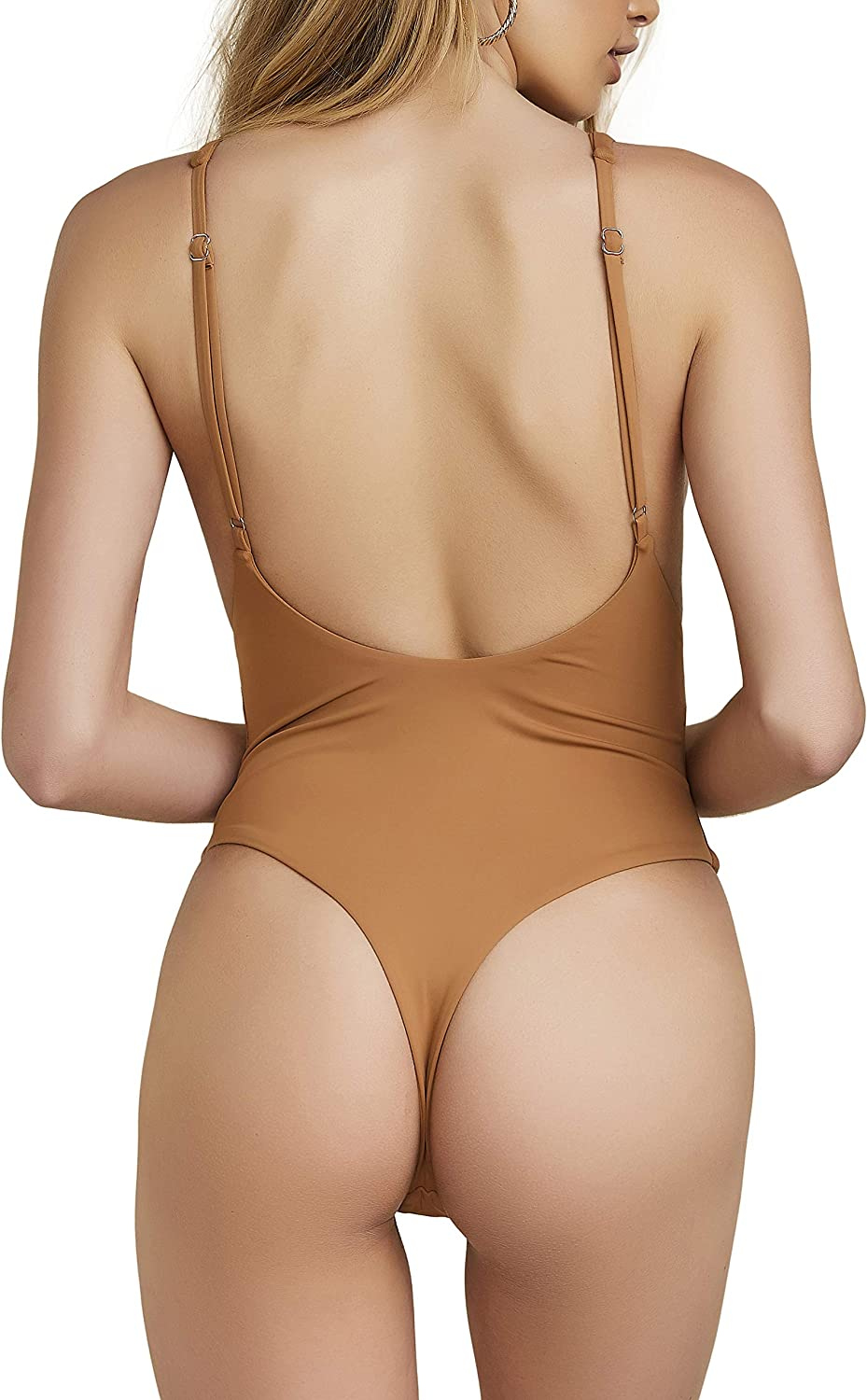 ToBeInStyle Womens Seamless Self-Lined High Cut Thong One Piece