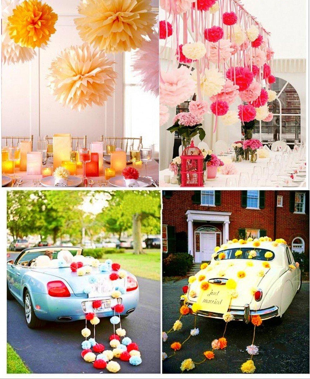 JZK 10 Cachi arancio chiaro pom pom carta velina 25 cm decorazioni festone per matrimonio compleanno Natale Halloween laurea addobbi pompon pon pon pompom
