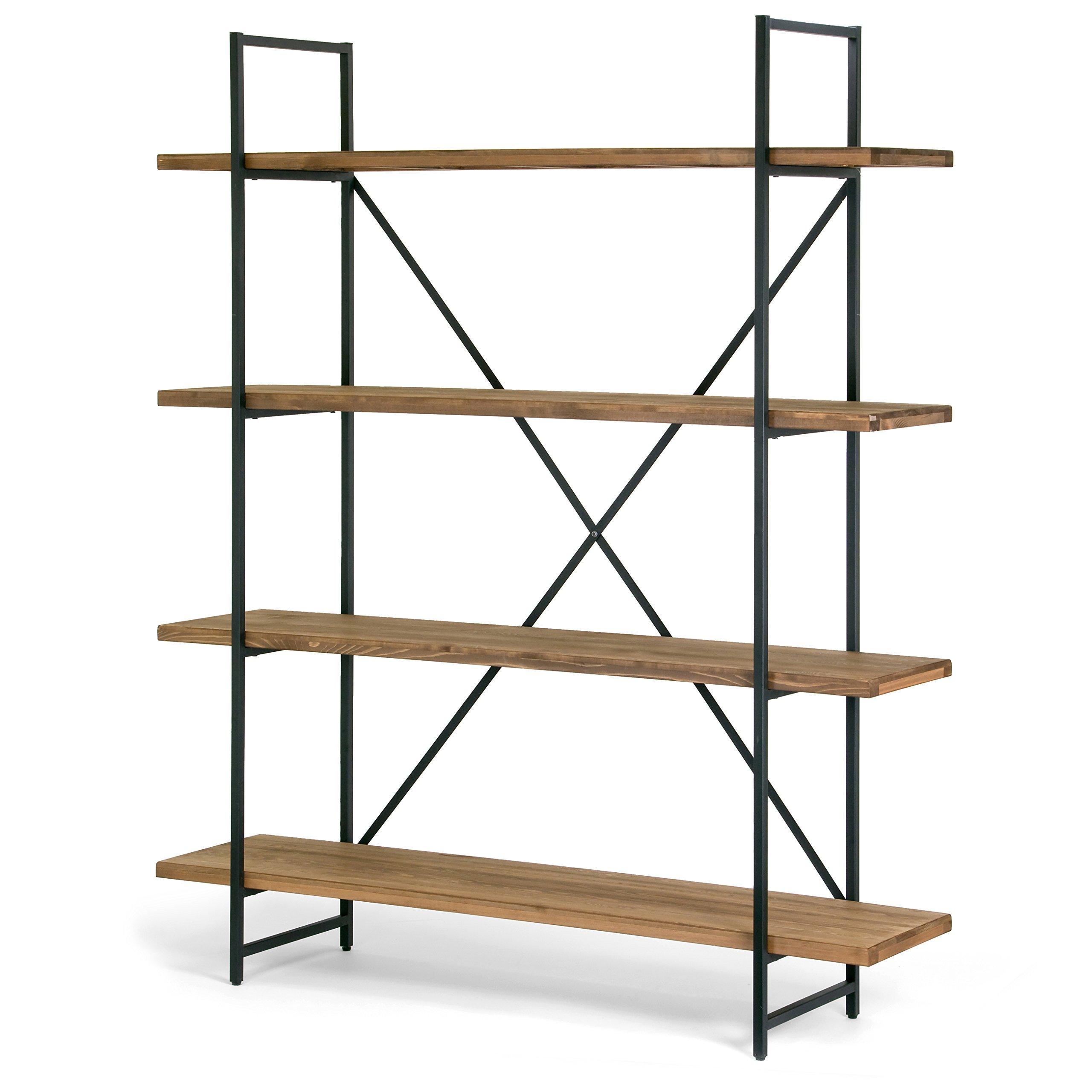 Ailis 75'' Brown Pine Wood Metal Frame Etagere Bookcase Four-shelf Media Center