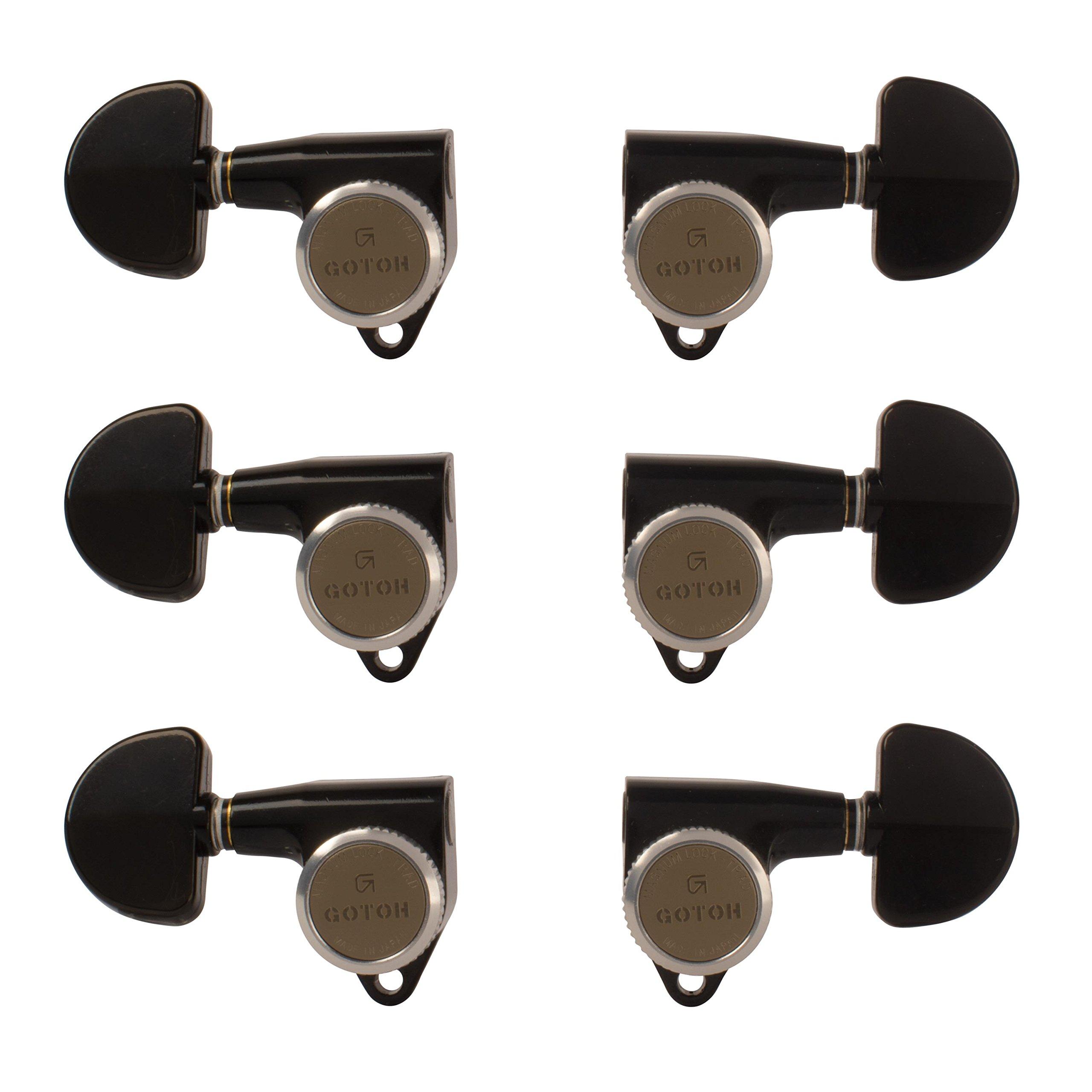 Gotoh Magnum Lock-Trad 3+3 Guitar Tuners, Black
