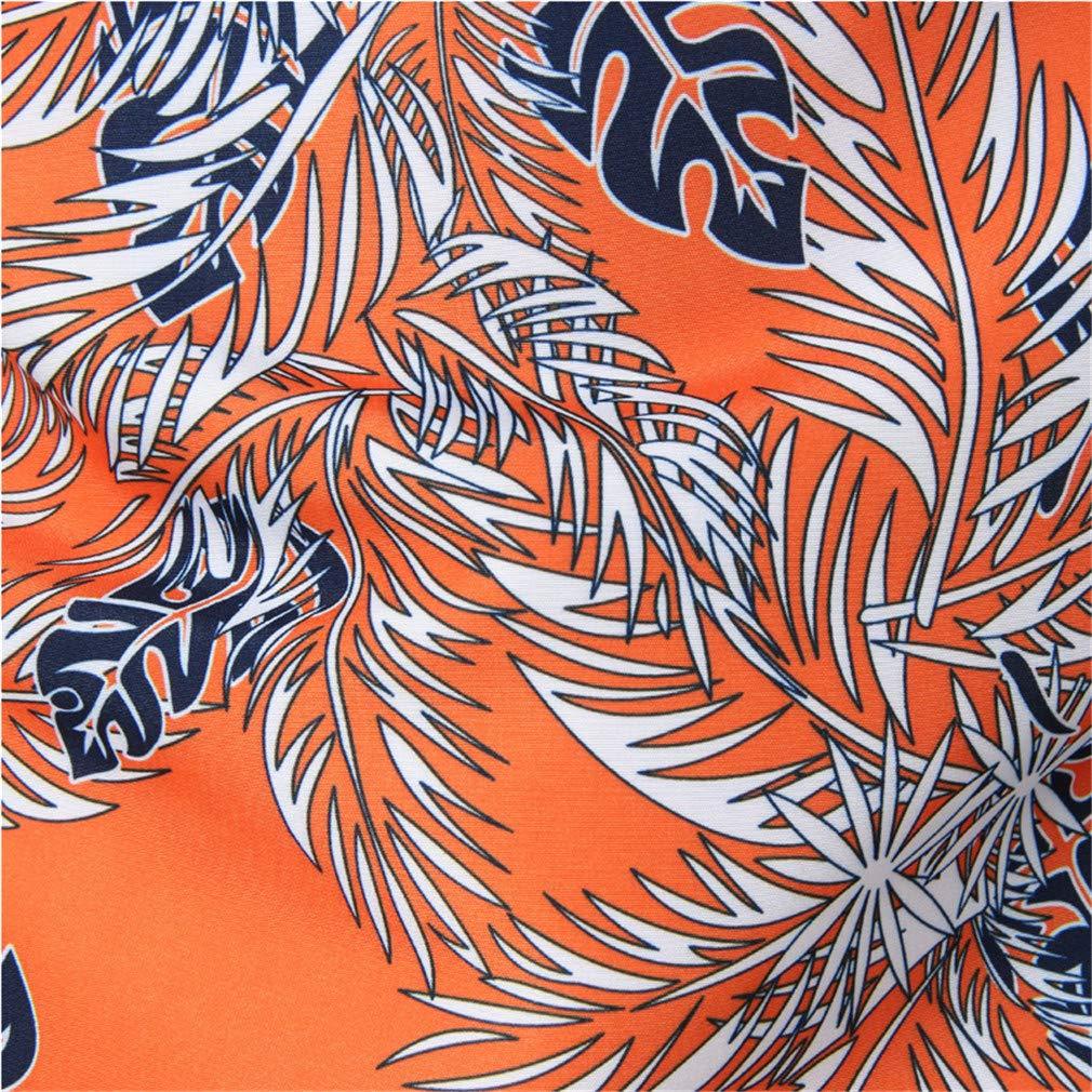 Hipster Leaves Print Hawaiian Shirt Summer Short Sleeve Floral Shirt Men Casual Holiday Vacation Tops Shirts