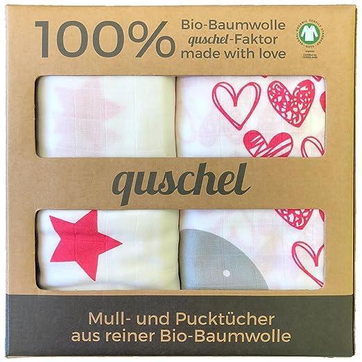 GOTS zertifiziert 4x quschel/® Mulltuch//Schnuffeltuch//Mullwindel//Spucktuch blau /& grau 65x65cm aus 100/% Bio-Baumwolle
